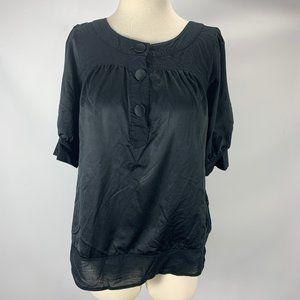 Liz Lange Maternity XS Black Blouse Button Tie